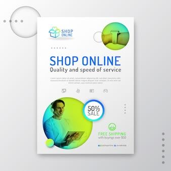 Gradientowa ulotka dotycząca zakupów online