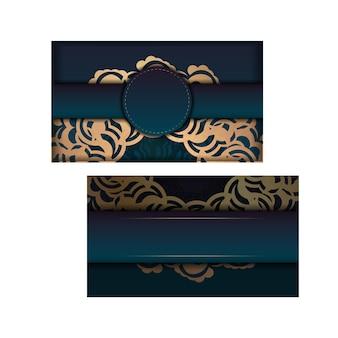 Gradientowa zielona broszura powitalna z greckim złotym ornamentem przygotowana do typografii.