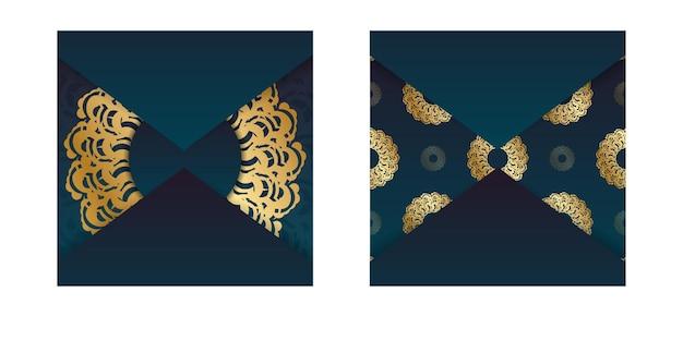 Gradientowa zielona ulotka gradientowa ze złotym wzorem mandali dla twojej marki.