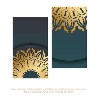 Gradientowa zielona wizytówka ze złotym wzorem mandali dla twojej osobowości.