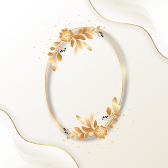 Gradientowa złota luksusowa kwiecista rama