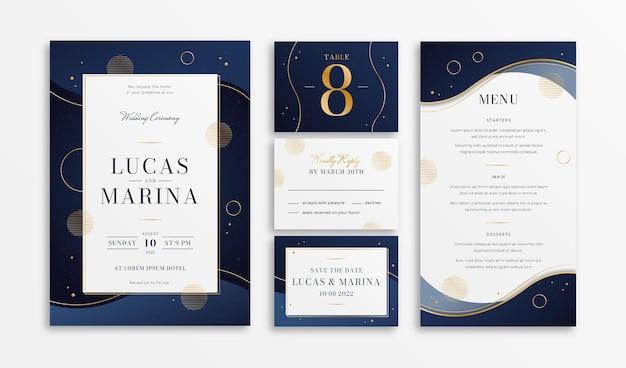 Gradientowa złota luksusowa papeteria ślubna