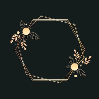 Gradientowa złota luksusowa rama z roślinami