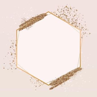 Gradientowa złota luksusowa sześciokątna ramka