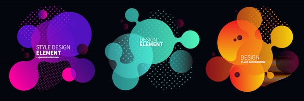 Gradientowe abstrakcyjne banery o płynnych kształtach
