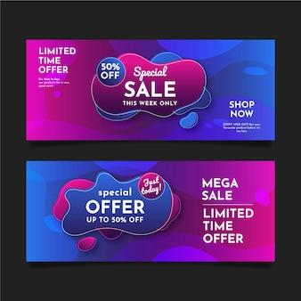 Gradientowe abstrakcyjne banery sprzedażowe z ofertą