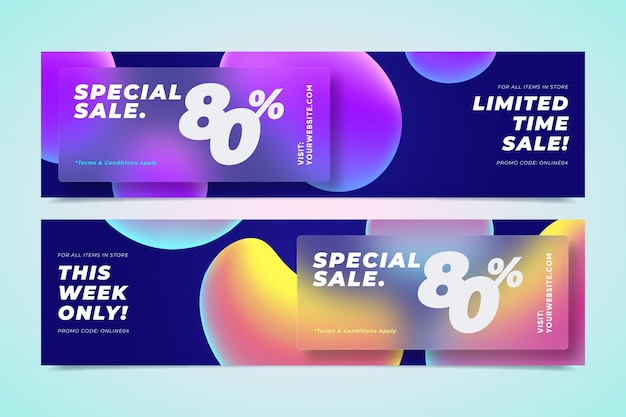 Gradientowe abstrakcyjne banery sprzedażowe