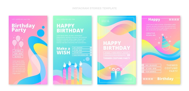 Gradientowe abstrakcyjne płynne historie urodzinowe ig