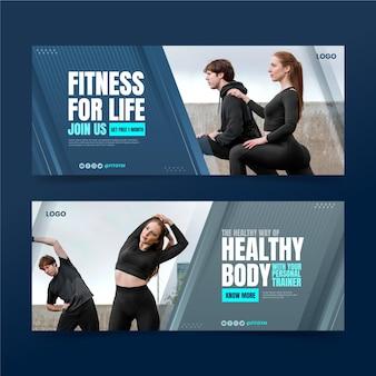 Gradientowe banery klubu fitness z szablonem zdjęć