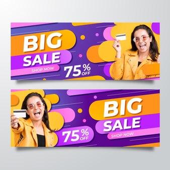 Gradientowe banery sprzedaży ze zdjęciem
