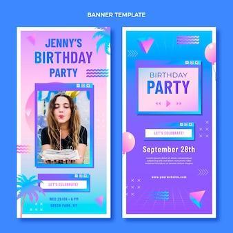Gradientowe banery urodzinowe retro vaporwave w pionie