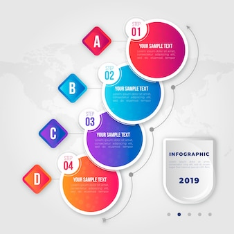 Gradientowe biznes infographic kroki