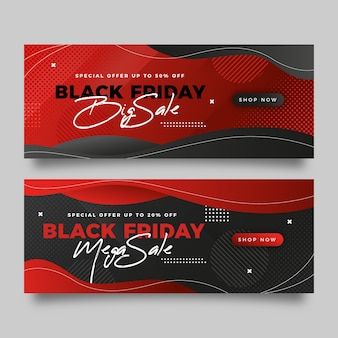 Gradientowe czarne banery piątek