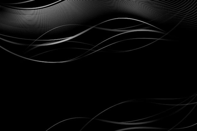 Gradientowe czarne tło z falistymi liniami