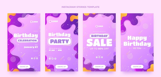 Gradientowe dynamiczne historie urodzinowe na instagramie