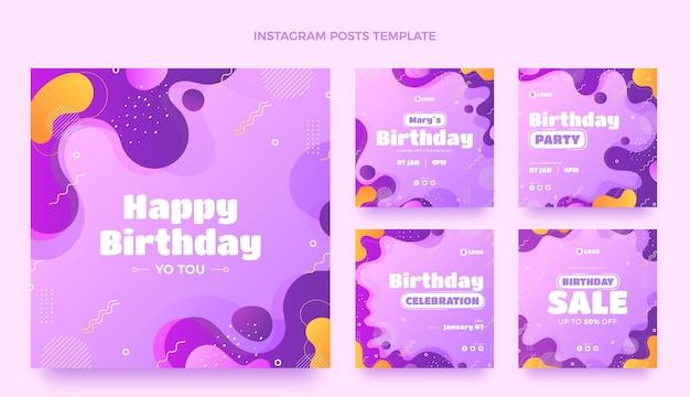 Gradientowe dynamiczne posty urodzinowe na instagramie
