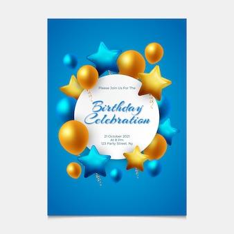 Gradientowe eleganckie zaproszenie na urodziny z balonami