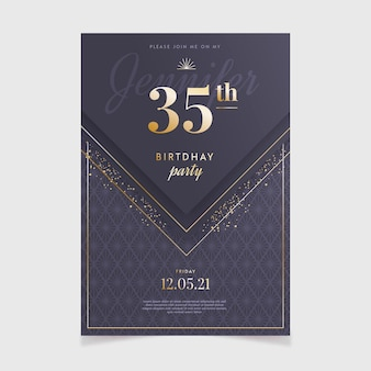 Gradientowe eleganckie zaproszenie na urodziny
