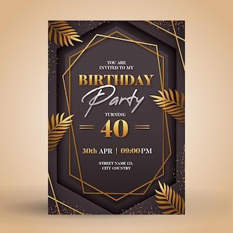 Gradientowe Eleganckie Zaproszenie Na Urodziny Darmowych Wektorów