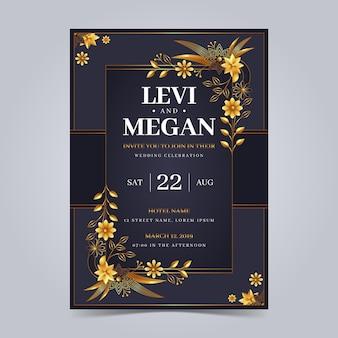 Gradientowe eleganckie złote zaproszenia ślubne