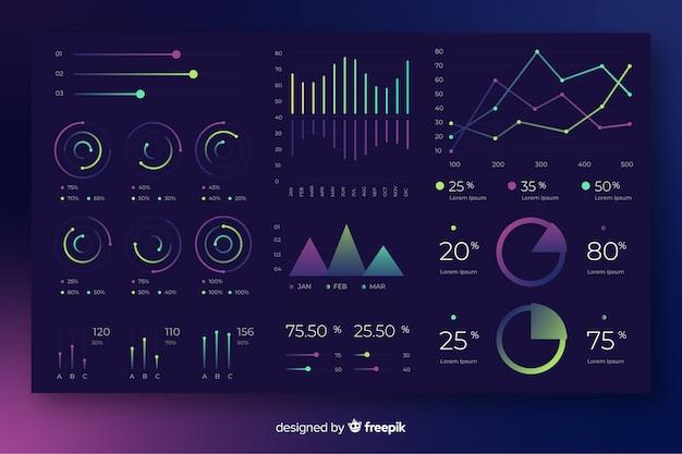 Gradientowe elementy infographic