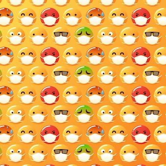 Gradientowe emoji z wzorem maski na twarz