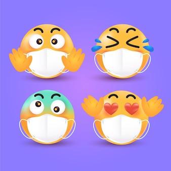 Gradientowe emotikony z maskami na twarz