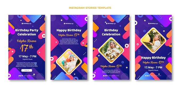 Gradientowe geometryczne historie urodzinowe na instagramie