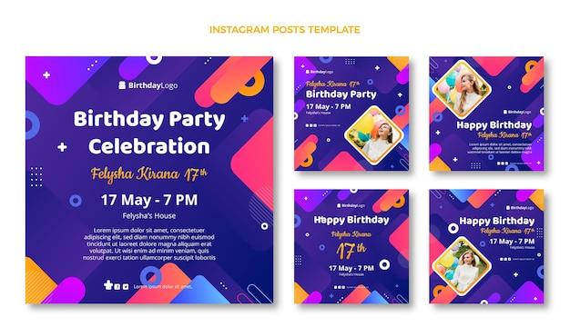 Gradientowe geometryczne posty urodzinowe na instagramie