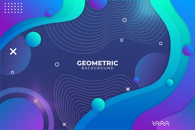 Gradientowe geometryczne tło niebieskie i fioletowe