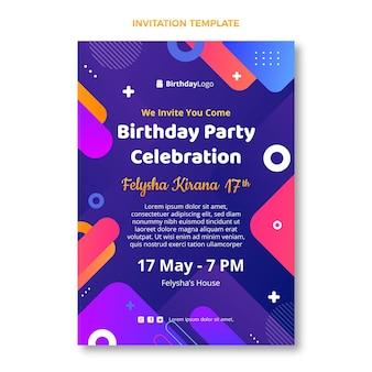 Gradientowe geometryczne zaproszenie na urodziny