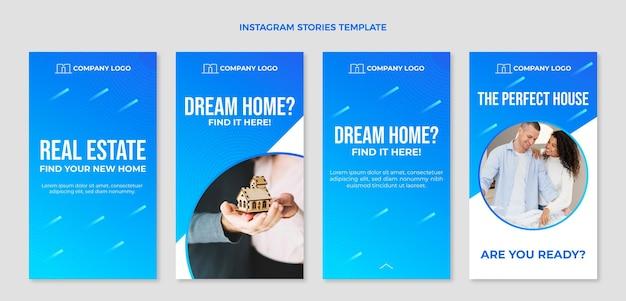 Gradientowe historie o nieruchomościach na instagramie