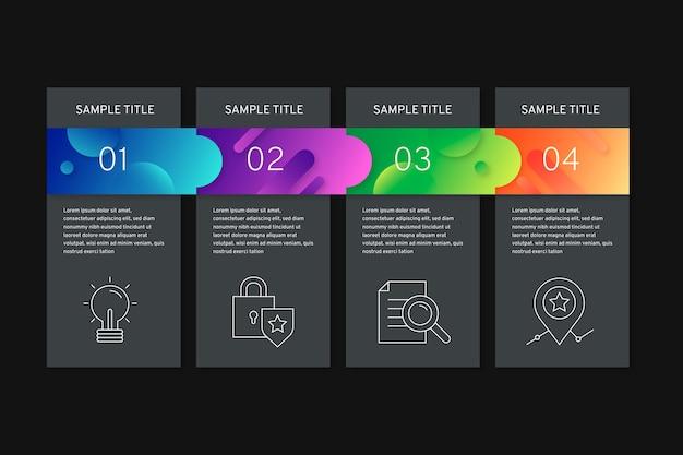 Gradientowe infographic kroki na czarnym tle z pola tekstowe