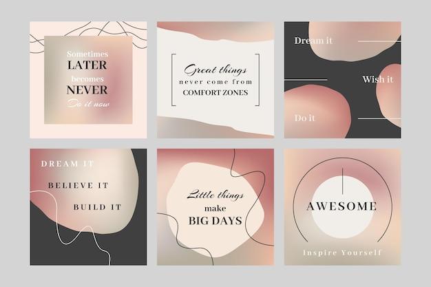 Gradientowe inspirujące cytaty kolekcja postów na instagramie