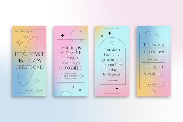 Gradientowe inspirujące cytaty opowiadania na instagramie