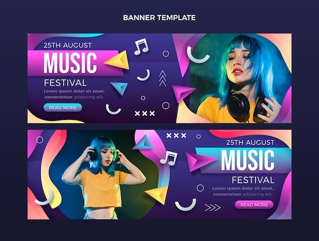 Gradientowe kolorowe banery festiwalu muzycznego poziome