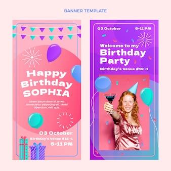 Gradientowe kolorowe banery urodzinowe pionowe