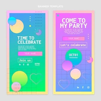 Gradientowe kolorowe banery urodzinowe