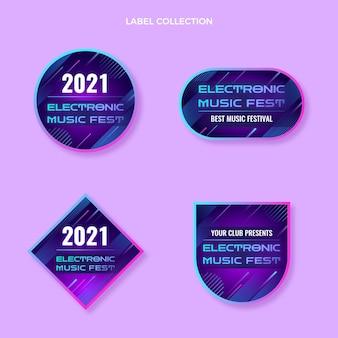 Gradientowe kolorowe etykiety festiwali muzycznych