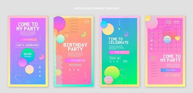 Gradientowe kolorowe historie urodzinowe ig
