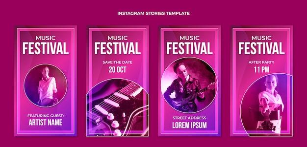 Gradientowe kolorowe historie z festiwalu muzycznego na instagramie