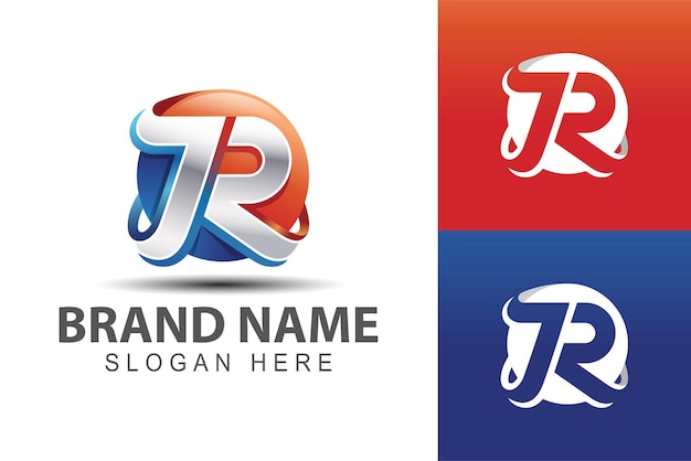 Gradientowe kolorowe litery jr, r z 3d abstrakcyjnym symbolem kuli ziemskiej dla szablonu logo technologii