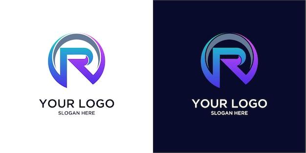 Gradientowe kolorowe logo r