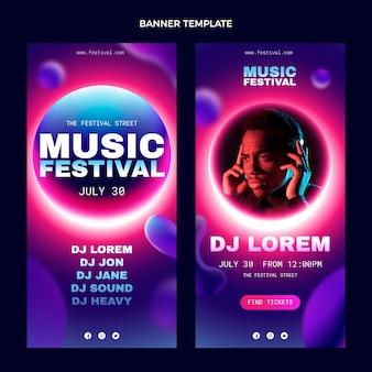 Gradientowe kolorowe pionowe banery festiwalu muzycznego