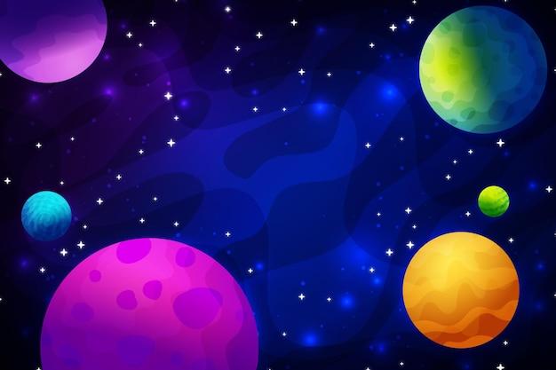 Gradientowe kolorowe planety galaktyki tło
