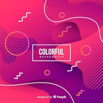 Gradientowe kolorowe płynne kształty tła