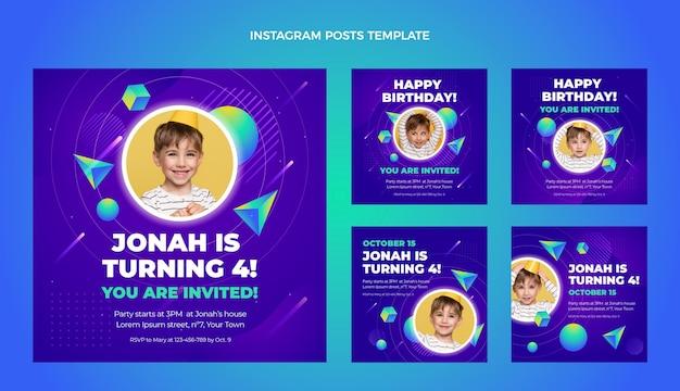 Gradientowe kolorowe posty urodzinowe na instagramie