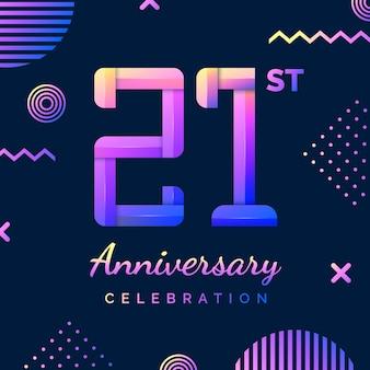 Gradientowe kolorowe tło rocznica dwadzieścia jeden