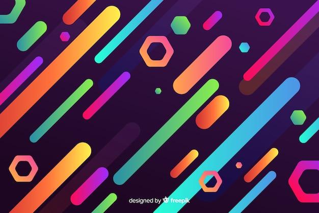Gradientowe kolorowe tło z dynamicznymi kształtami