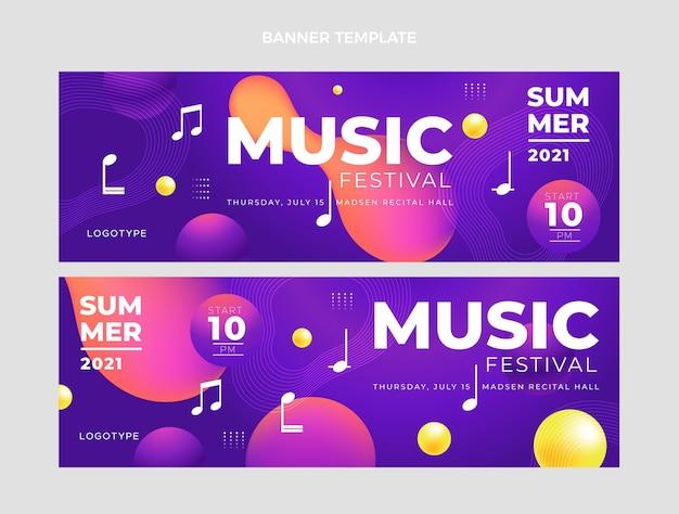 Gradientowe kolorowe transparenty poziome festiwalu muzycznego